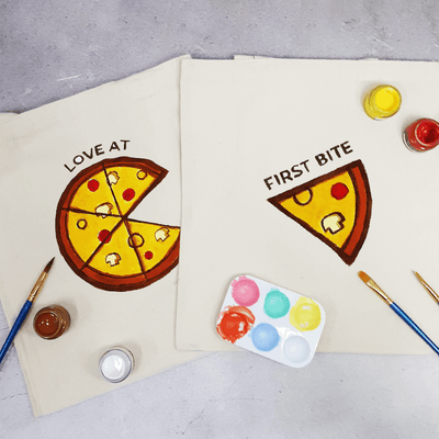 Pizza for 2 Couple Tote Bag Painting Kit