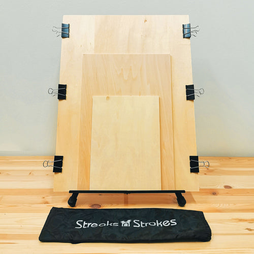 Professional Painting Set Up - Art Easel Stand with Mounting Boards & Clips