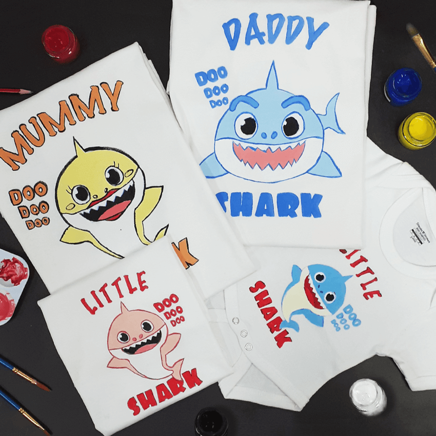 Shark Family of 4 T-Shirt Painting Kit