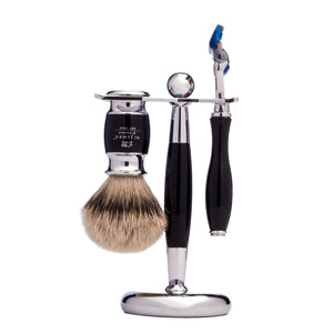 St James of London Ebony Shaving Set with Silver Tip Brush & Fusion Razor