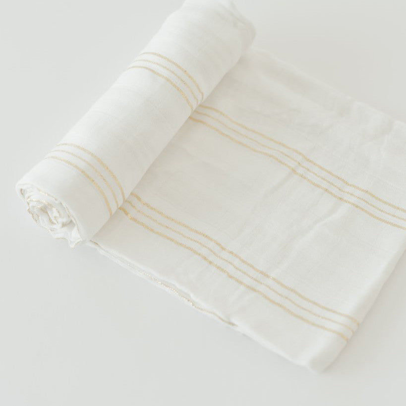 Swaddle Blanket - Gold Stripes