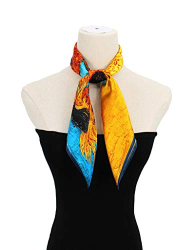 100% Pure Mulberry Silk Square Scarf for Hair-27''x27''- Soft Breathable Lightweight Satin Silk Neckerchief Headscarf (Sunflower)