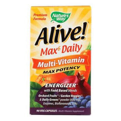 Nature's Way - Alive! Max6 Daily Multi-Vitamin - Max Potency - 90 Veg Capsules