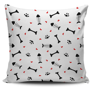 Dog Bone Paw Pillow Cover