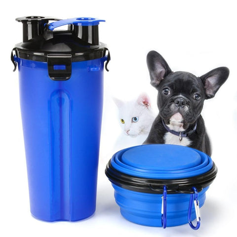 2-in-1 Pet Water Bottle with Collapsible Bowl