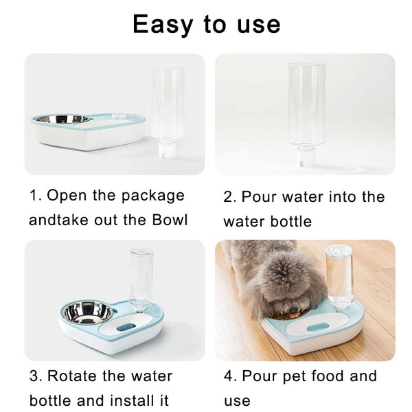 2-in-1 Pet Bowl Set with Automatic Water Dispenser Bottle