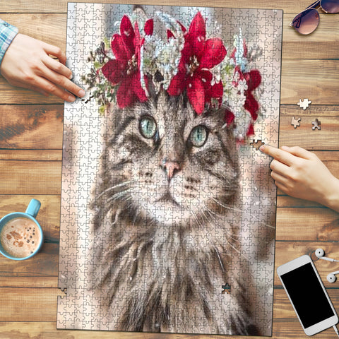 Flowered Kitty Jigsaw Puzzle