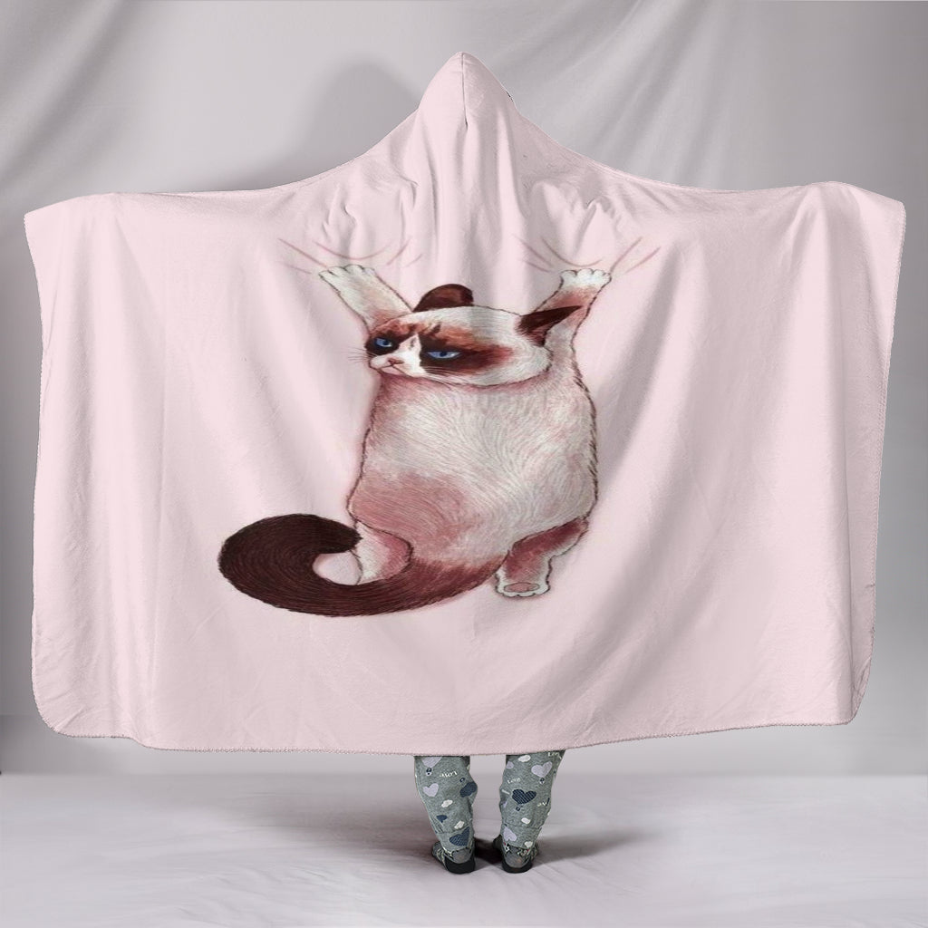 Grumpy Cat Hooded Blanket