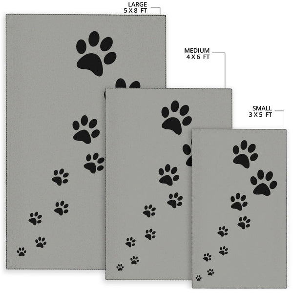 paw prints grey rug