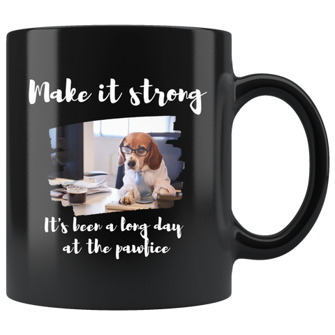 Long day at the pawfice mug (black)