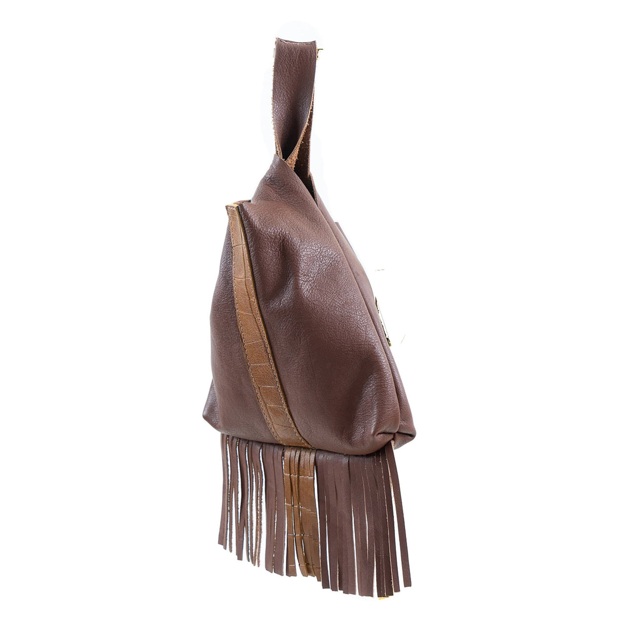 Leather Fringe Wristlet Embossed Brown Croc