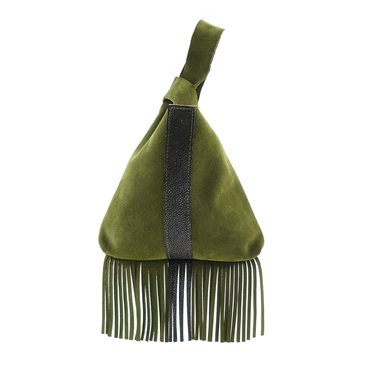Leather Fringe Wristlet Olive Suede Brown Shagreen-Olive Suede | Brown Shagreen