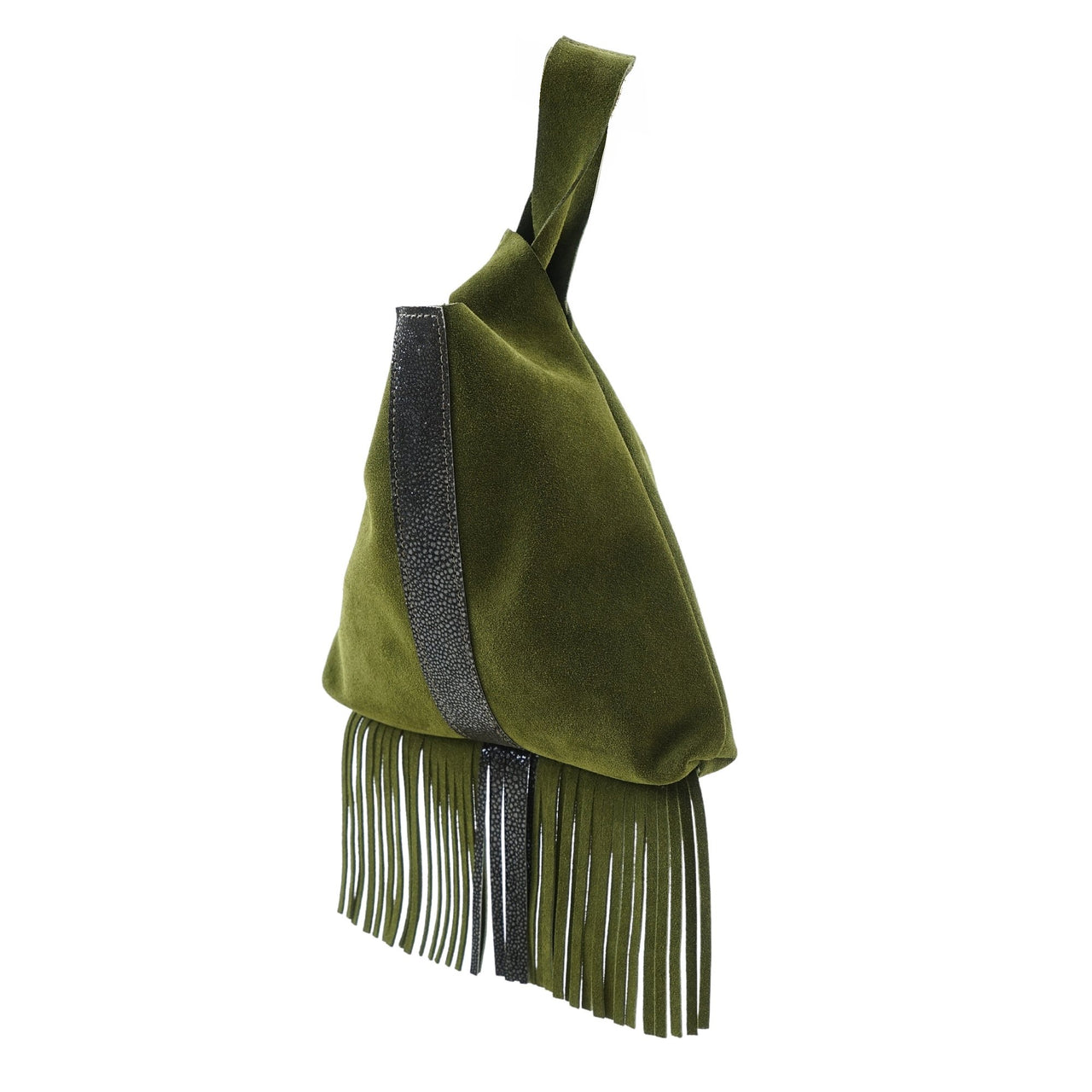 Leather Fringe Wristlet Olive Suede Brown Shagreen