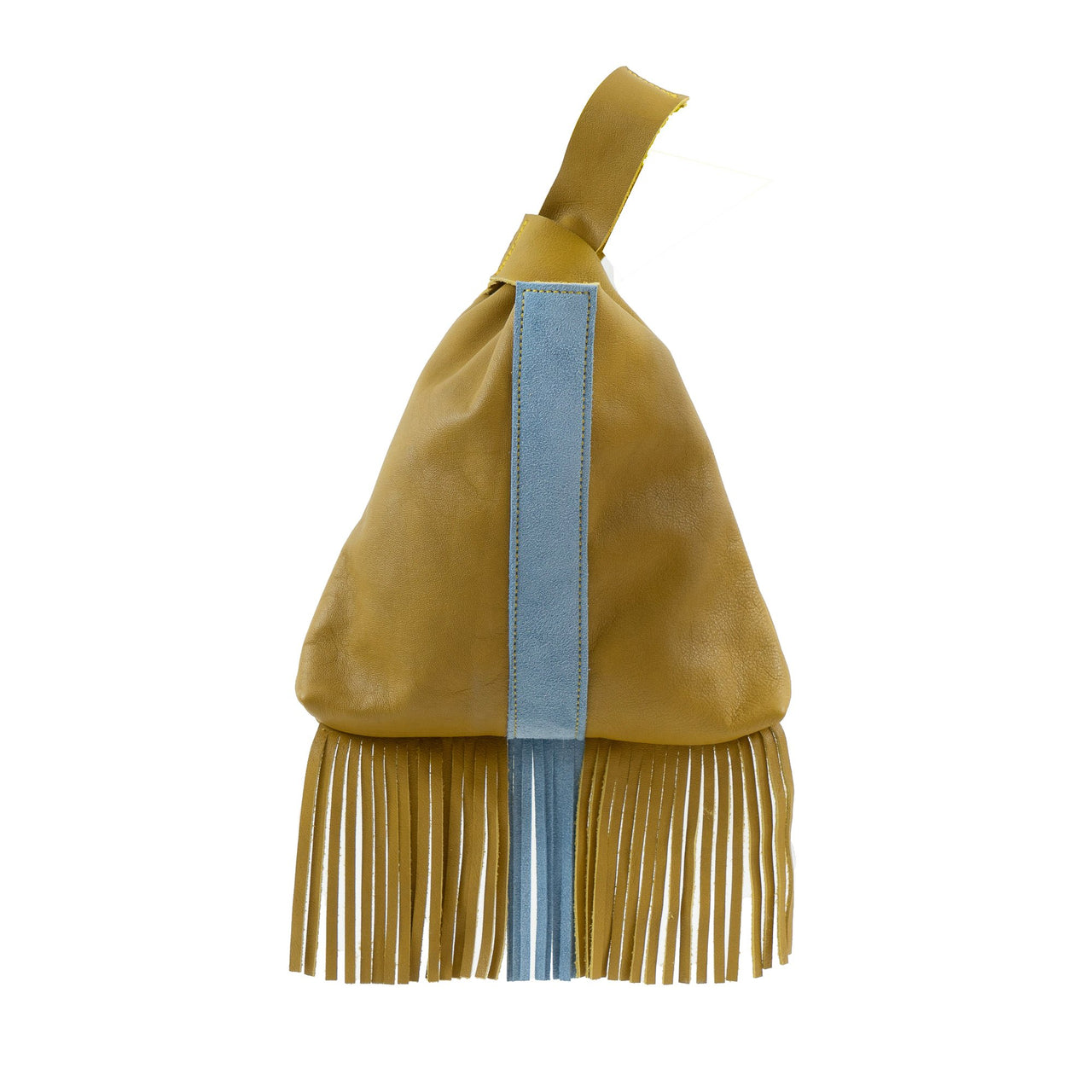 Leather Fringe Wristlet Khaki Dust Blue-Khaki | Dust Blue