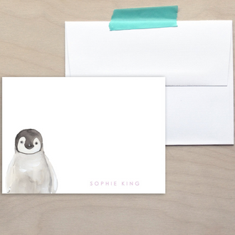 Kids Penguin Note Cards
