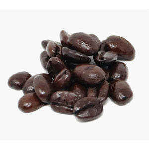 A small pile of coffee beans dark brown in colour from roasting, on a white background.