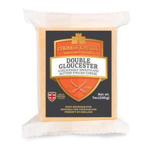 A 200g prepackage of Double Gloucester from Coombe Castle.