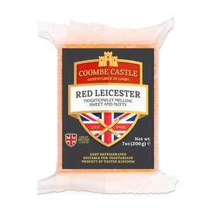 A 200g prepackage of Red Leicester from Coombe Castle.