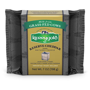 A 198g prepackage of Reserve Cheddar from Kerrygold.