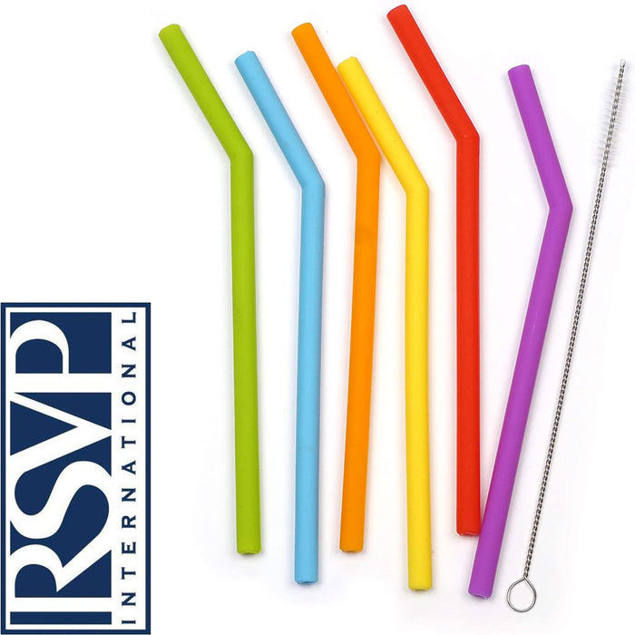 Short Silicone Reusable Straws - Set of 6 + Cleaning Brush