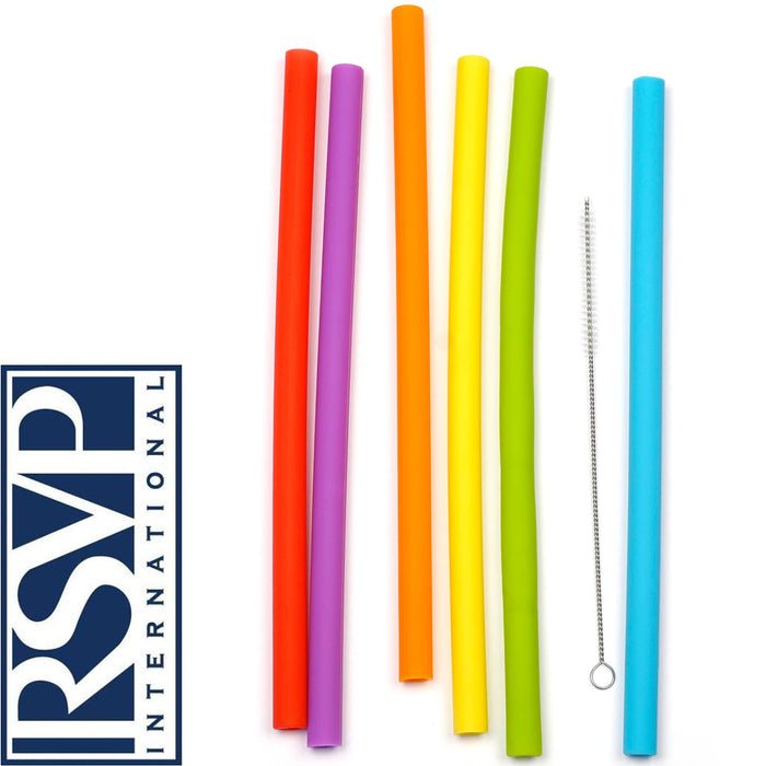 "Reusable 10"" Silicone Smoothie Straws - Set of 6 + Cleaning Brush"