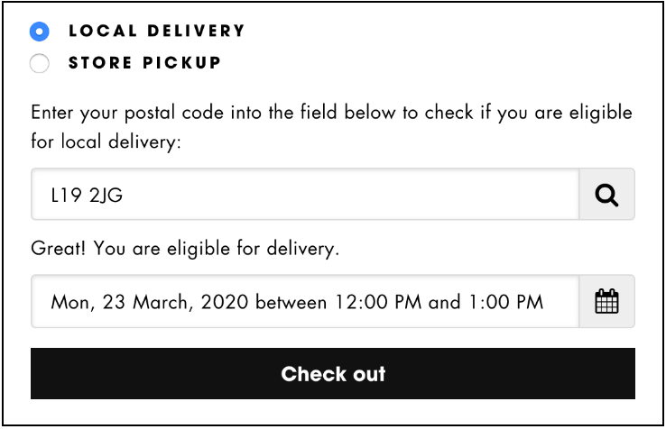delivery offering at checkout
