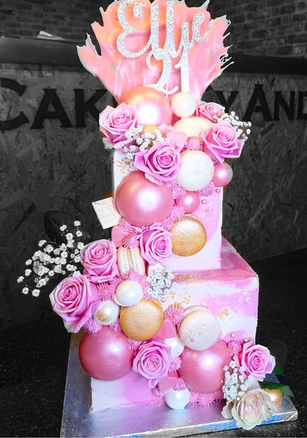 This cake is a 2 tier tall