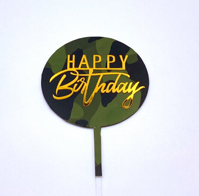 Camouflage Happy Birthday Topper