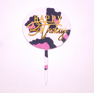Pink Leopard Print Birthday Cake Topper