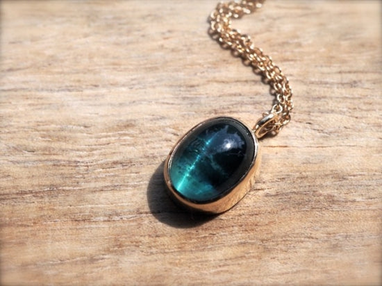 Cat's Eye Pendant Indicolite Tourmaline