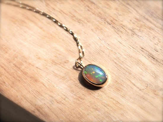 Cat's Eye Pendant Rainbow Ethiopian Opal