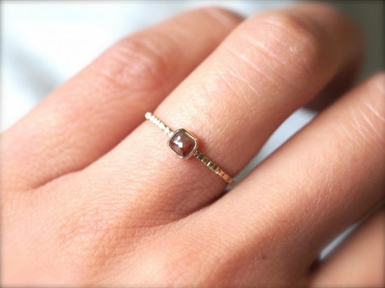 Pomegranate Square Diamond Ring