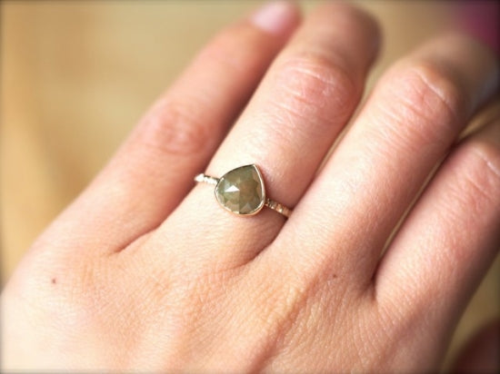 Brown Olive Diamond Ring