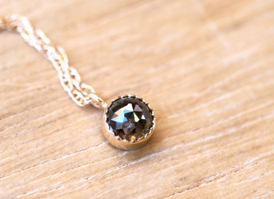 Black Diamond Round Necklace