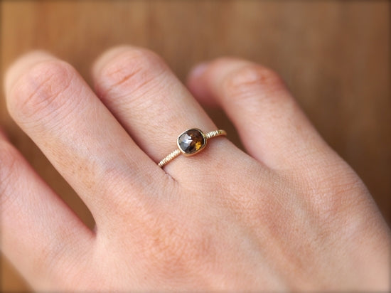 Brown Botanical Diamond Ring