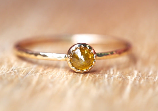 Amber Brown Marquis Diamond Ring