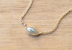 Beige Gray Marquise Diamond Necklace