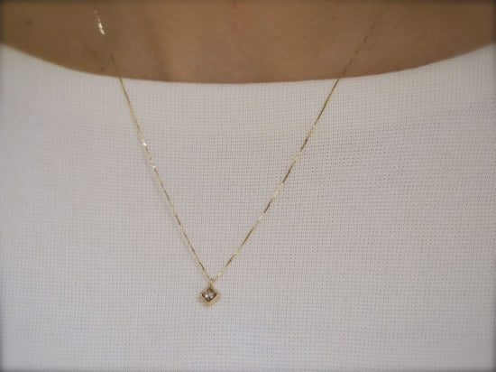 Champagne Square Diamond Necklace