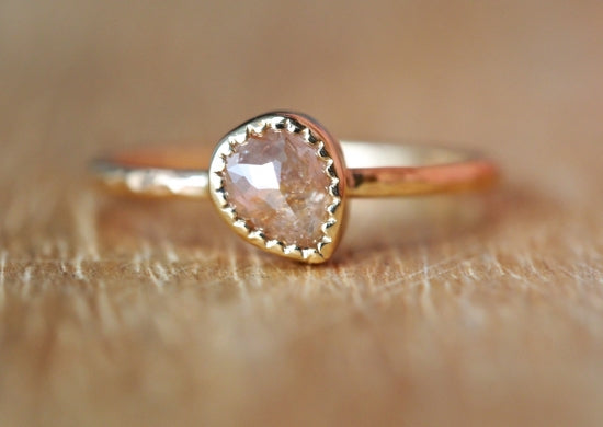 Pink Clouds Drop Diamond Ring