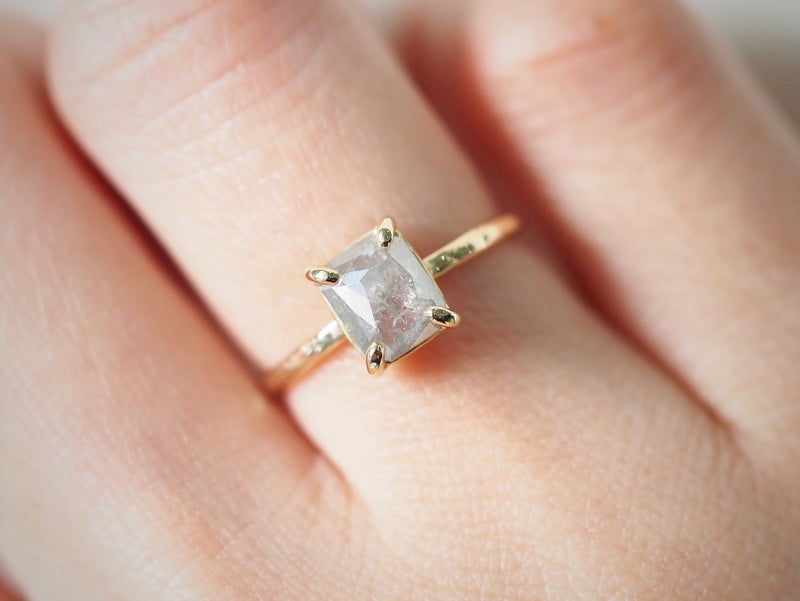 Ice Gray Diamond Prong Ring