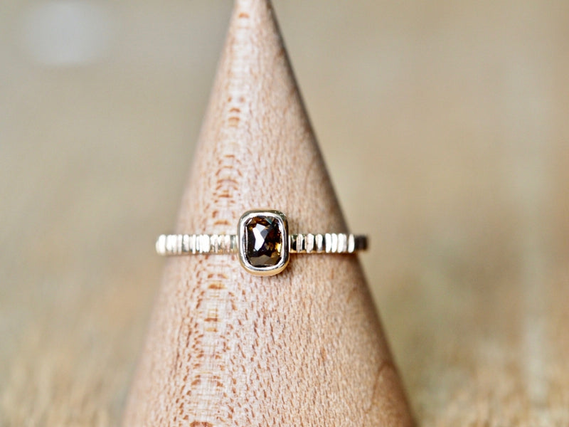 Mocha Brown Square Diamond Ring