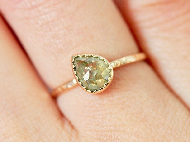 Misty Wood Drop Diamond Ring