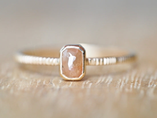Coral Pink Baby Diamond Ring