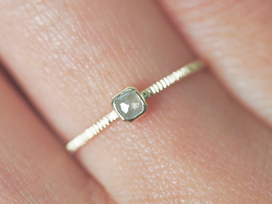Baby Square Silver Diamond Ring