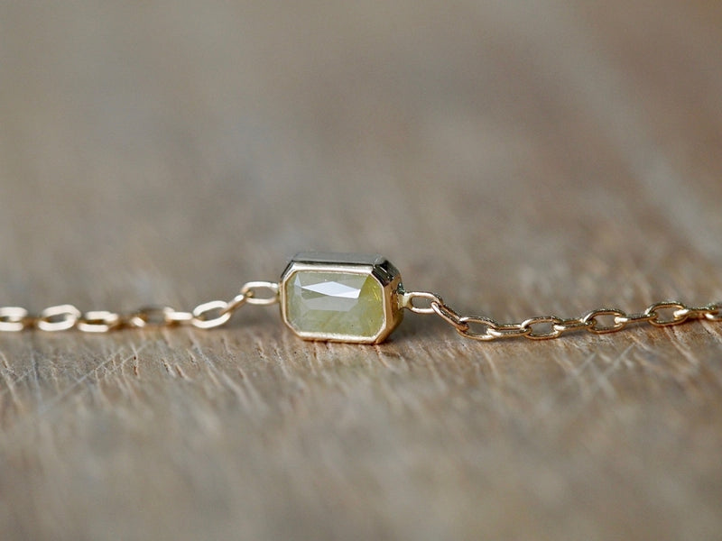 Cream Yellow Rectangle Diamond Bracelet