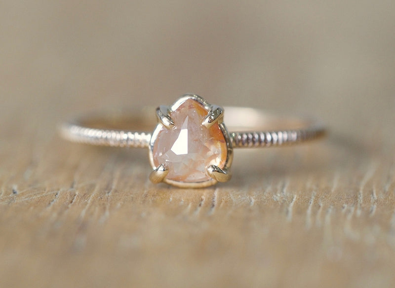 Pink Peony Drop Diamond Ring