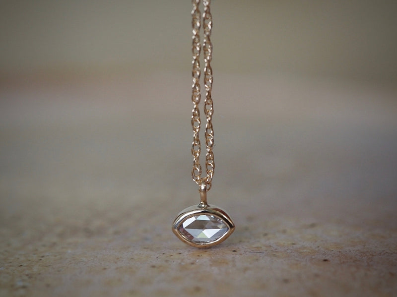 Rose Cut Marquis Diamond Necklace