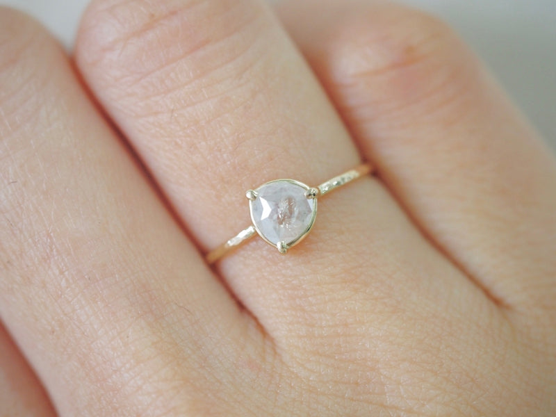 Silver White Diamond Three Prong Ring