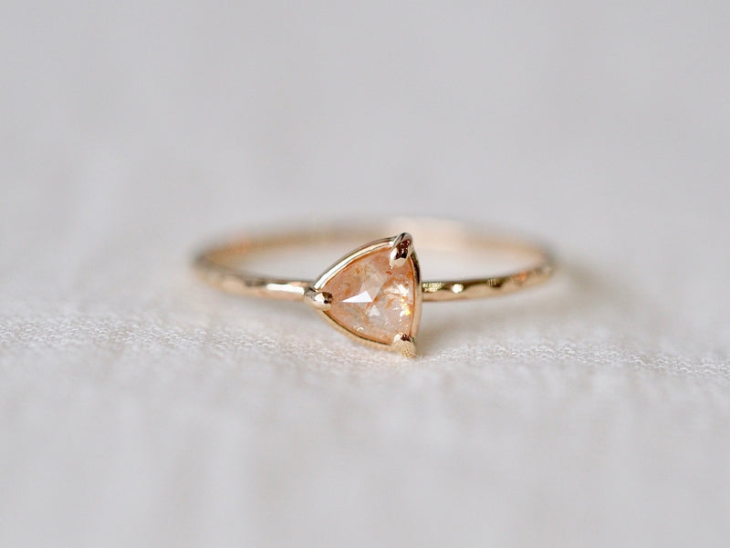 Triangle Pink Beige Diamond Ring