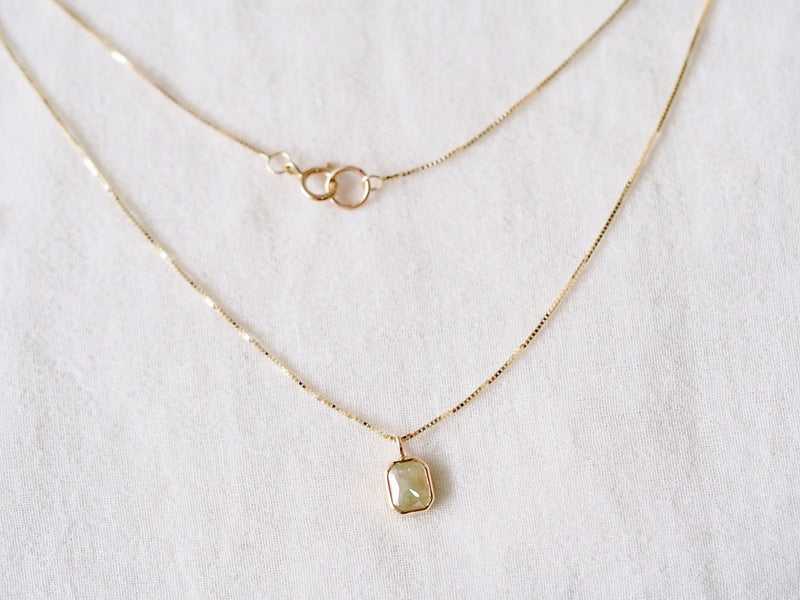 Soft Sage Square Diamond Necklace